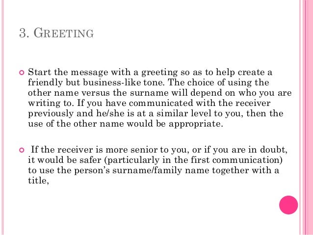4. 3. GREETING ...  Email Greeting