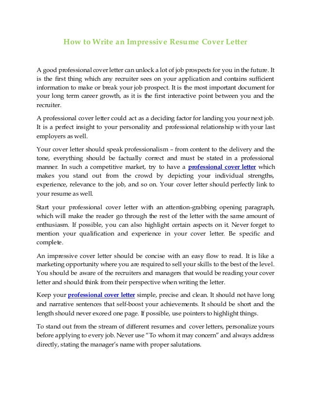 How To Write An Impressive Resume Cover Letter A Good Professional Can Unlock