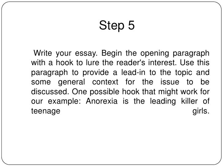 how to write an informative essay 8 step 5 write your essay begin the opening paragraph a hook