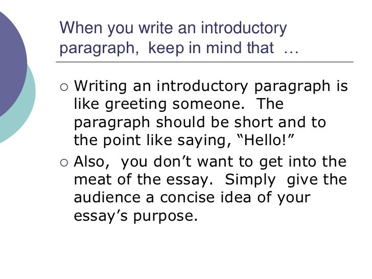 how to write introductory paragraph The introduction is the first impression that the reader has of the rest of the essay a well formulated introduction will entice the reader to read on it serves as a road map for the rest of the paper after reading the introduction, the reader should not have trouble following the organization of the paper the introduction contains.