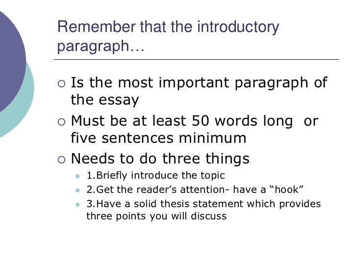 How long should a introduction be for a 5 paragraph essay