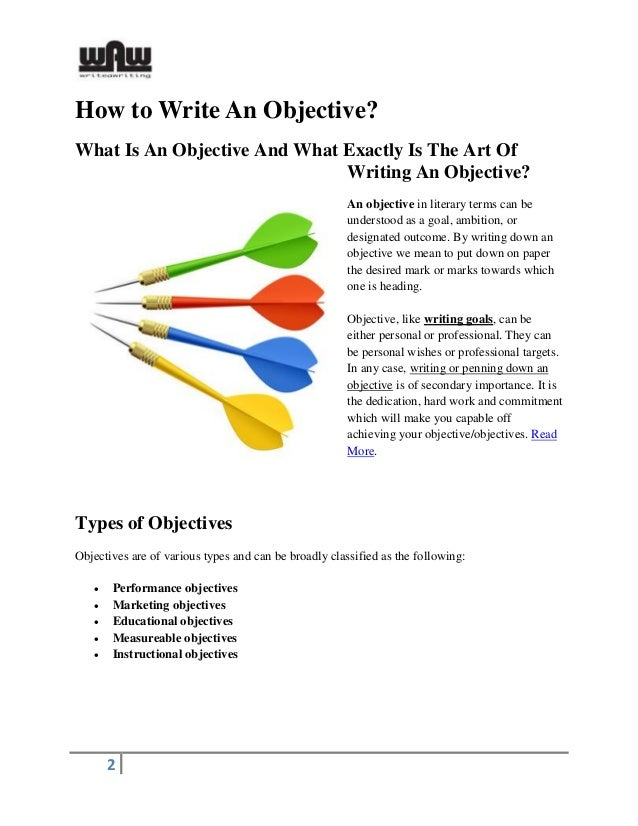how to write and objective