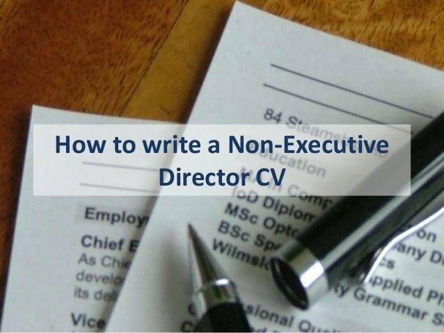 How to write a Non-Executive Director CV