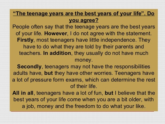 teenage independence essay 15012018  becoming independent this fact sheet is part of the teen talk: a survival guide for parents of teenagers series colleen gengler, extension educator.