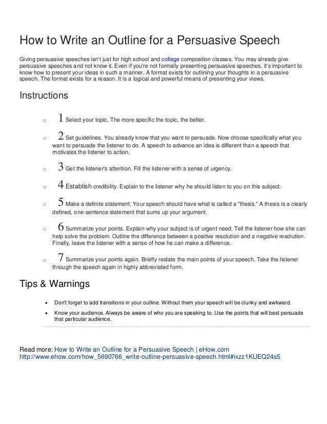 Individual Persuasive Speech Outline Template