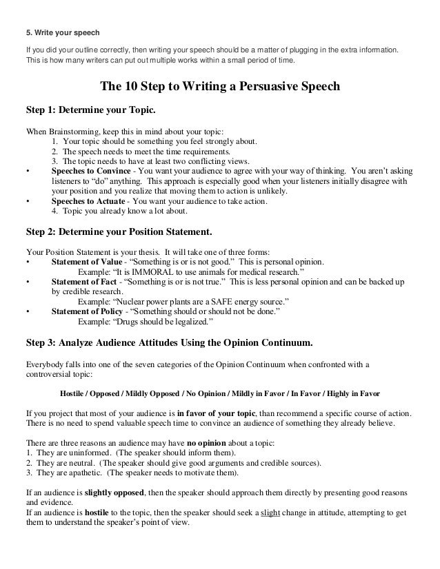 how to write an outline for a persuasive speech 14