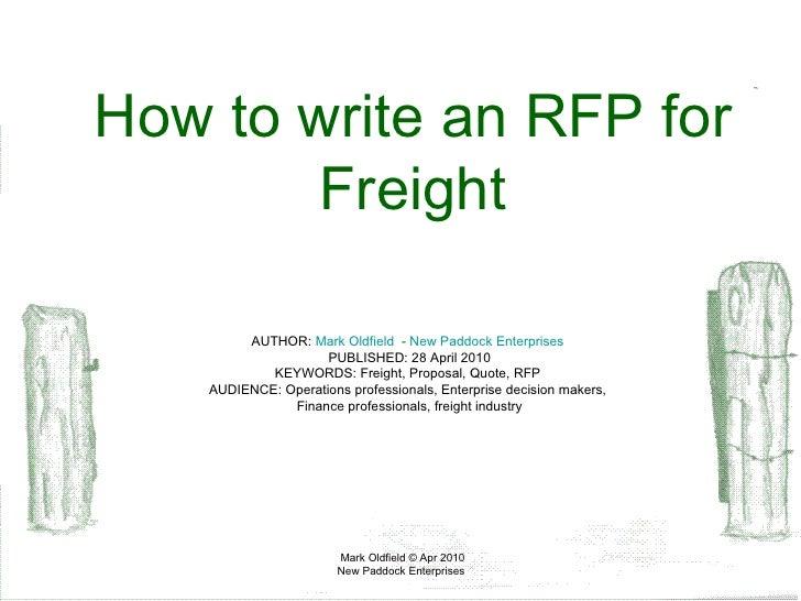 How to write a bid proposal