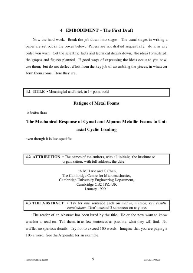 how to write a title for a college paper To fully understand what information particular parts of the paper should discuss, here's another research paper example including some key parts of the paper.