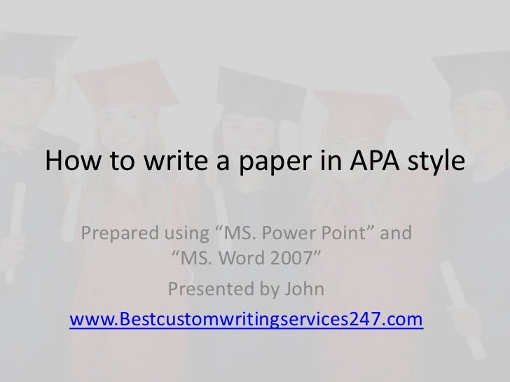 Write my paper apa style