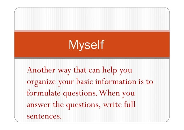 5 sentences about myself in english
