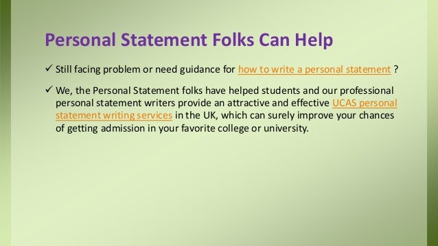 Help write personal statement cannot