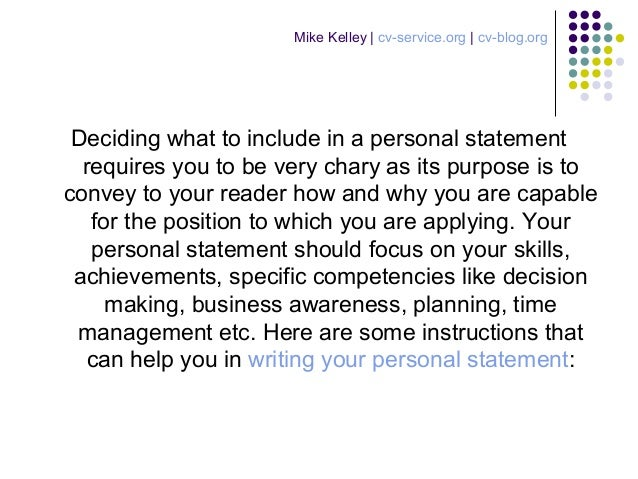 what to write in personal statement cv