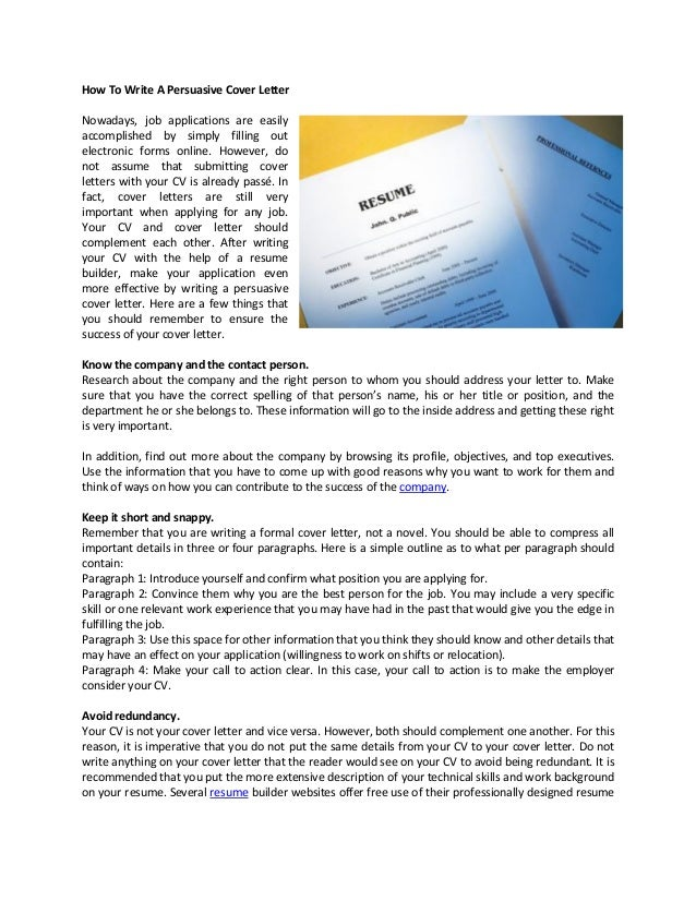 How To Write A Persuasive Cover Letter