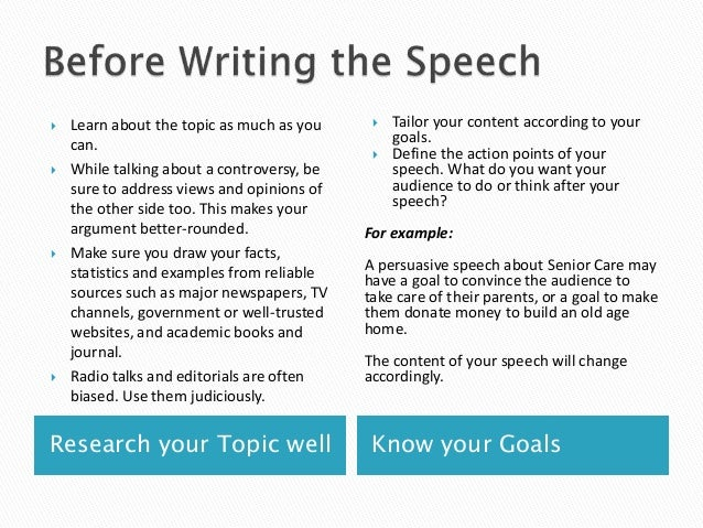 Help writing speech