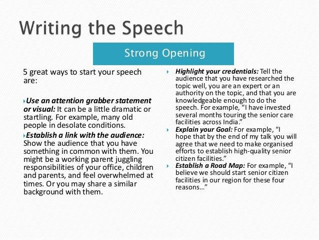 Need help writing a speech