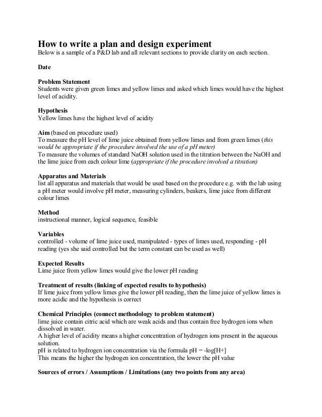 experimental design lab report