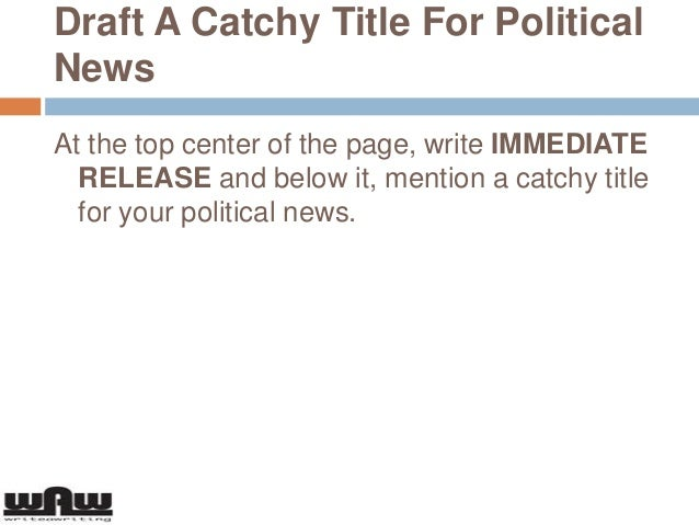 How to write a good political press release