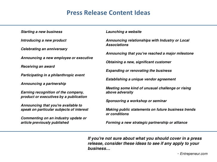 Top 40 Press Release Examples from the Pros