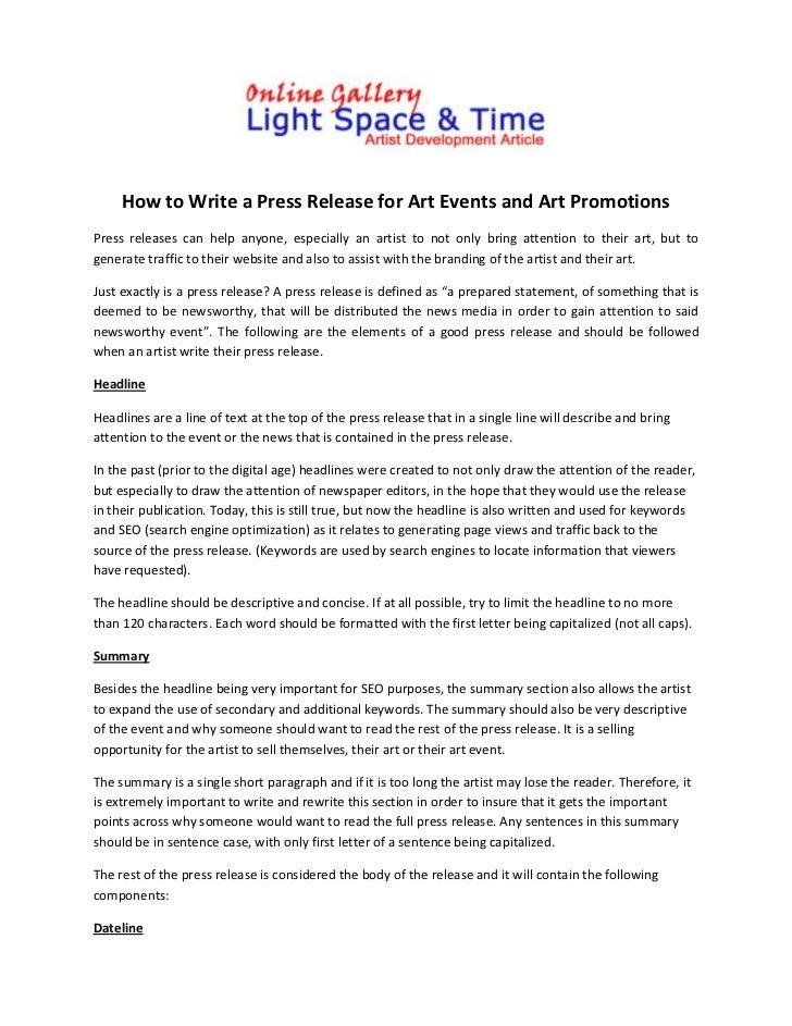 how to write a press release for an event template how to write a press release for art events and art promotions