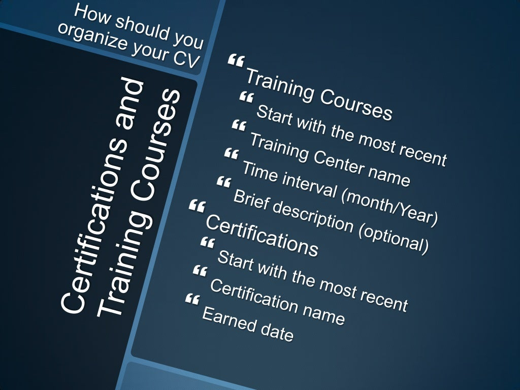 certifications and training courses how