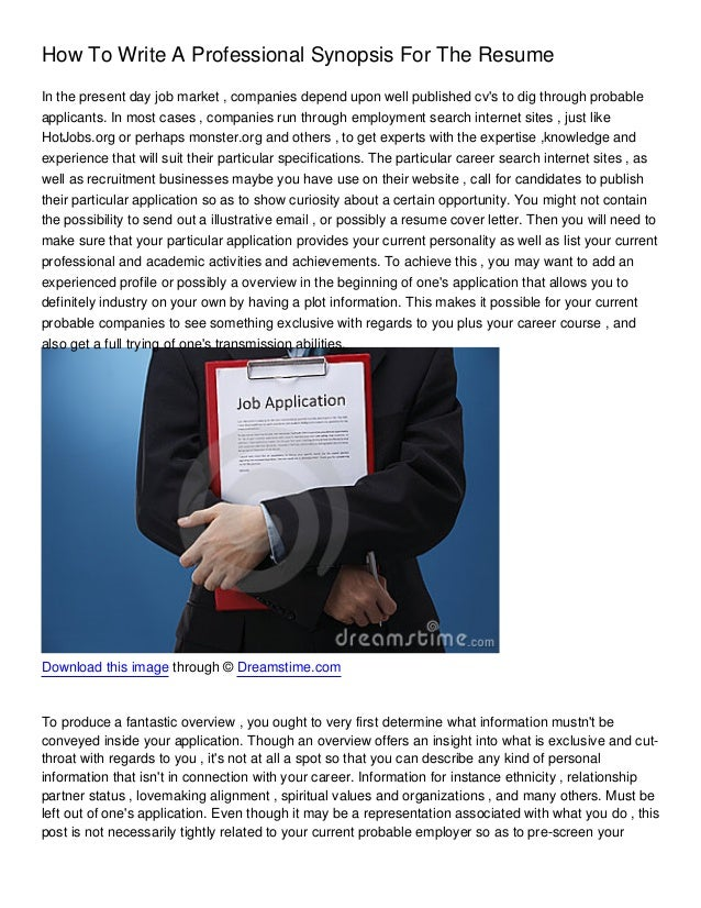 how to write a professional synopsis for the resume