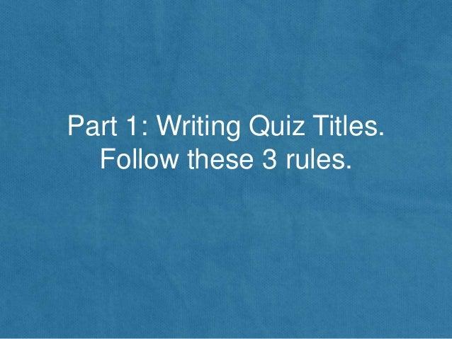 How to write a quiz like buzzfeed