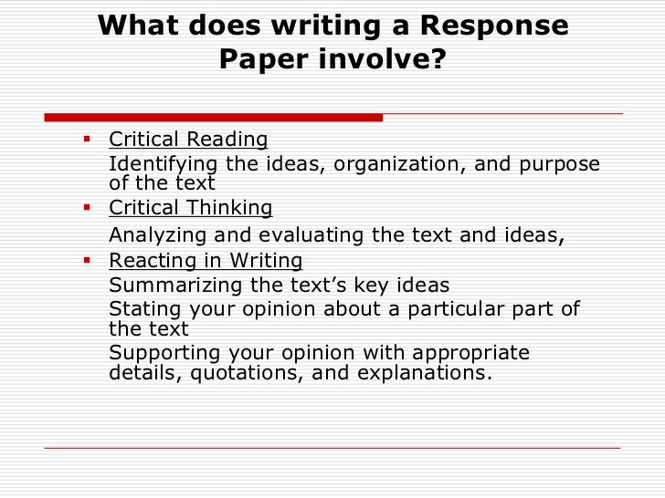 reaction paper 2 essay A reaction paper is a paper type that requires the students' ability to present their reactions to the thoughts, ideas, stated in the scholarly source this assignment is written according to complex expected standards that can differ from other writing styles.