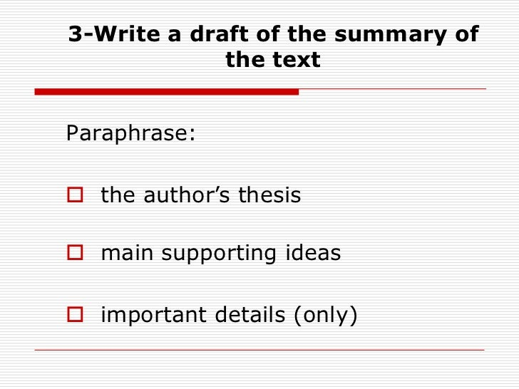 How to write a synthesis summary writing