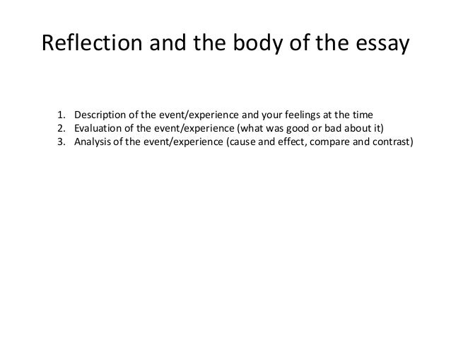 when writing a reflective essay about an experience in your life The reflective writing experience is part of a curriculum that incorporates   explores the notion that one is called to a life in medicine from multiple  perspectives  a complete stranger to undo the tiny bow that held together her  paper-thin gown.