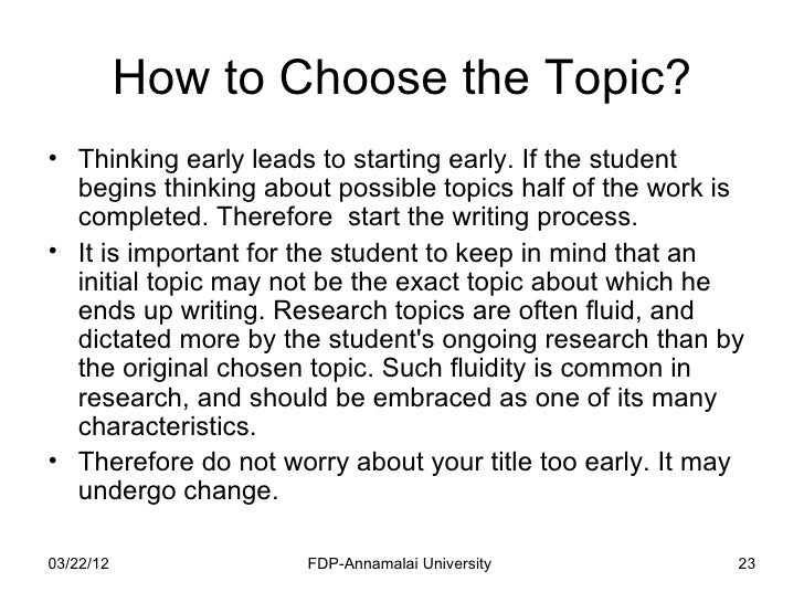 how to write a research paper  23 how to choose the topic
