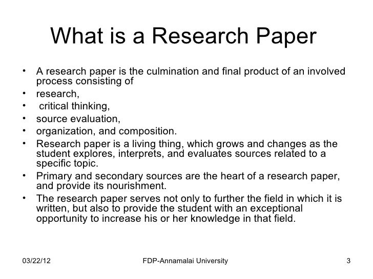 Purpose of research paper outline
