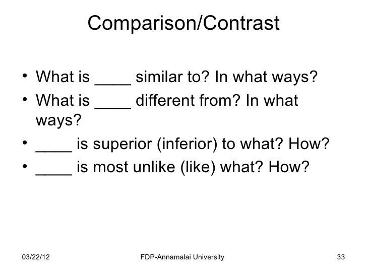 compare and contrast jobs in a