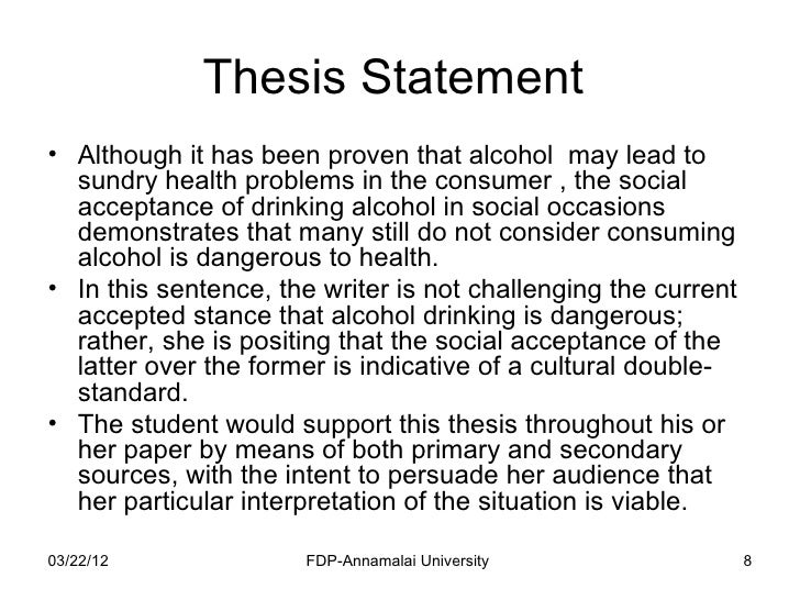 Thesis sentence for research paper