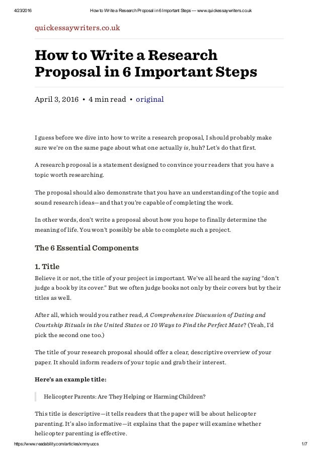 How To Write A Research Proposal In  Important Steps  WwwQuickessa