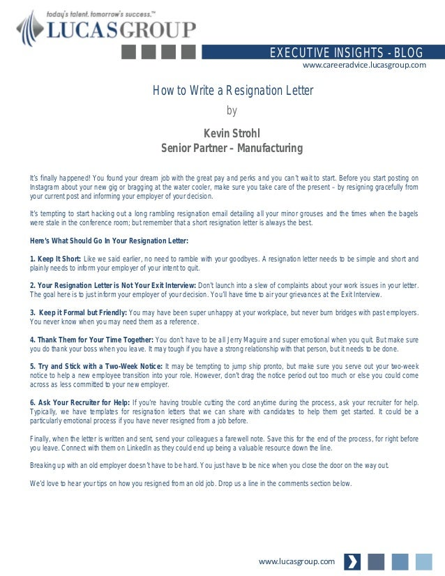 How to Write a Resignation Letter – What Should Be in a Resignation Letter