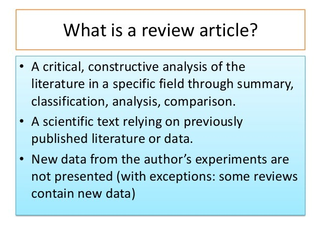writing a critique of an article