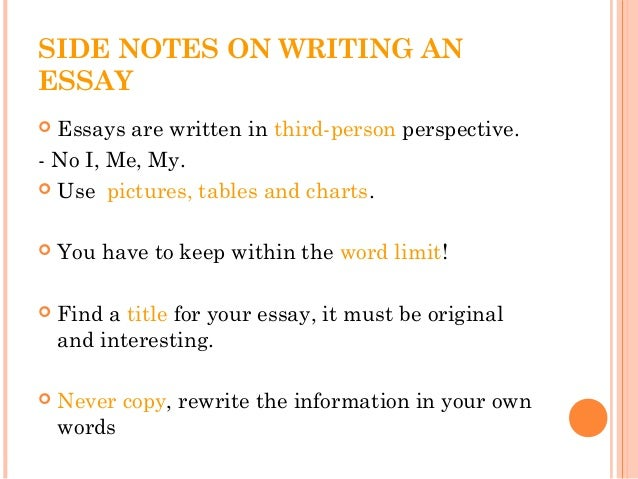 How To Write A Science Essay  Side Notes On Writing An Essay