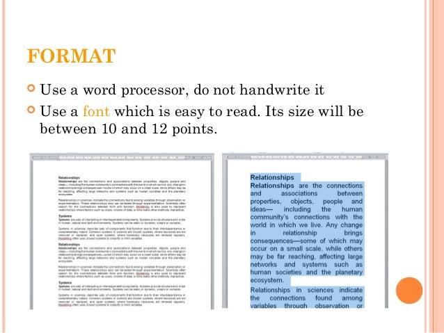 science essay format