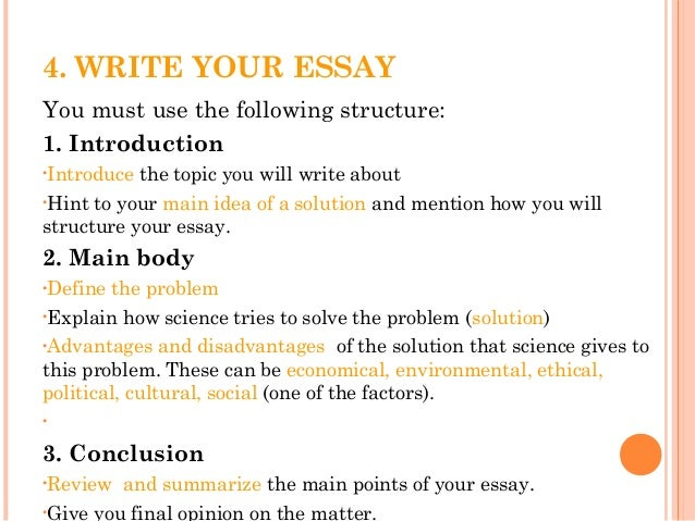how to write science essay