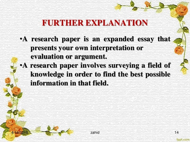 Philosophical Essay   Further Explanation A Research Paper Is An Expanded Essay  Essay Techniques also Essay On Emotional Intelligence How To Write A Scientific Paper Essay About Family