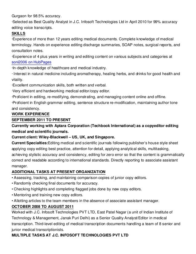 how to write a senior copy editor resume online