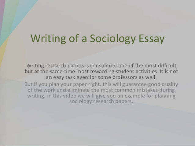 Tips to Writing a Sociology ?