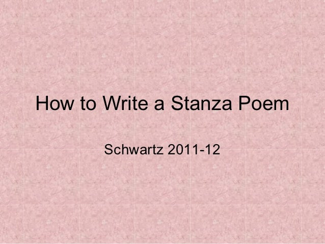 How to Write a Stanza Poem?
