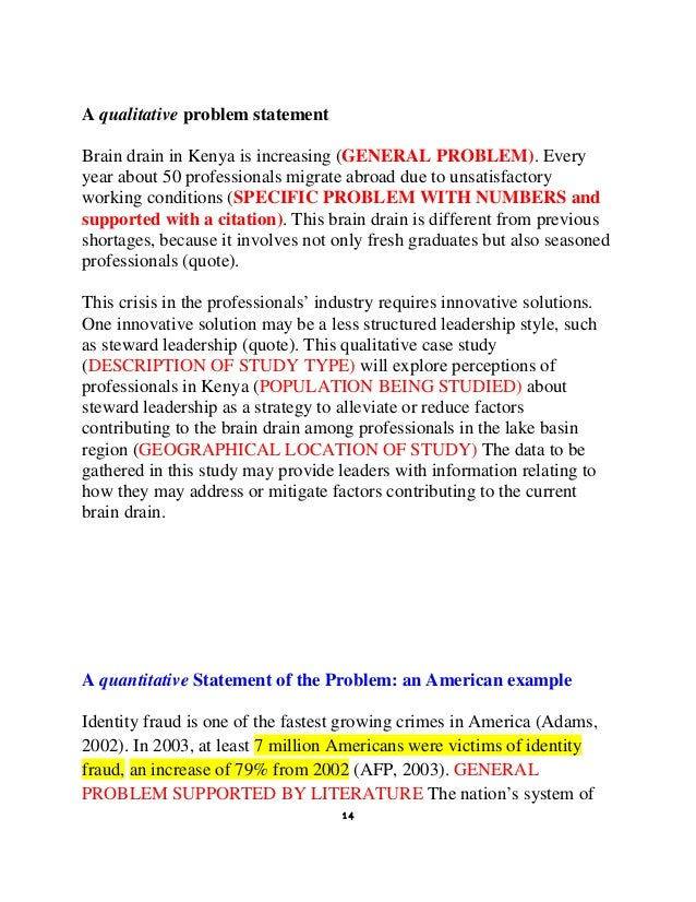 how to write a dissertation problem statement