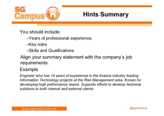 SlideShare  What Is A Summary For A Resume