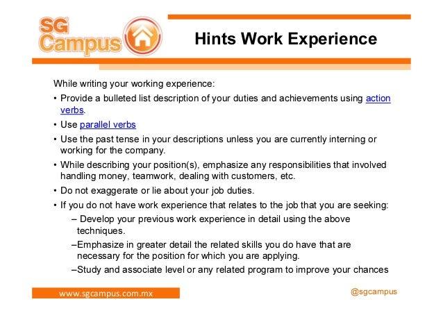 resume past work experience