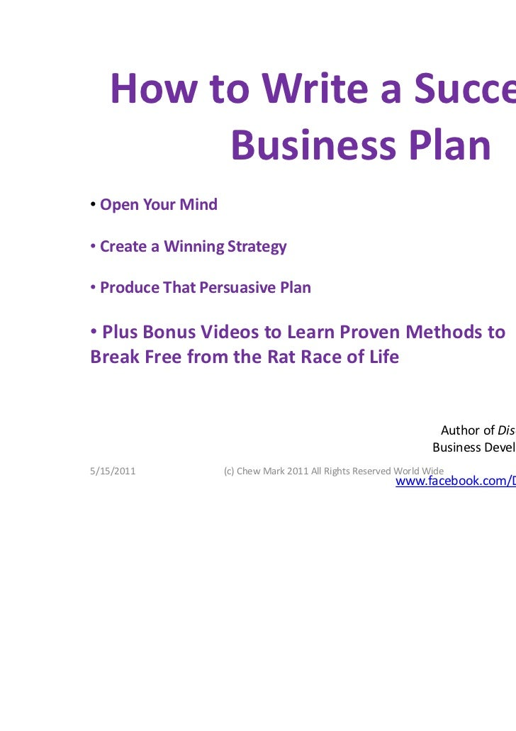 How To Write A Successful Business Plan By Chew Mark - Effective business plan template