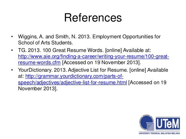 SlideShare  100 Great Resume Words