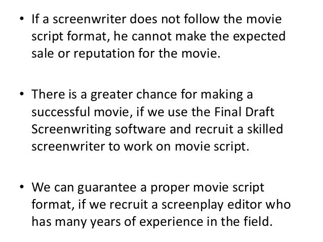 how to write a successful movie script