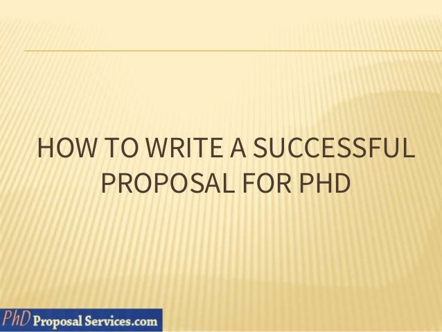 How to write proposal for phd